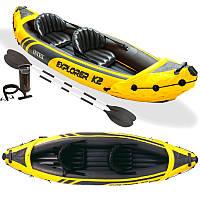 Лодка надувная байдарка каяк Intex 68307 EXPLORER-K2 KAYAK, 312-91-51 см, двухместная, насос, весла