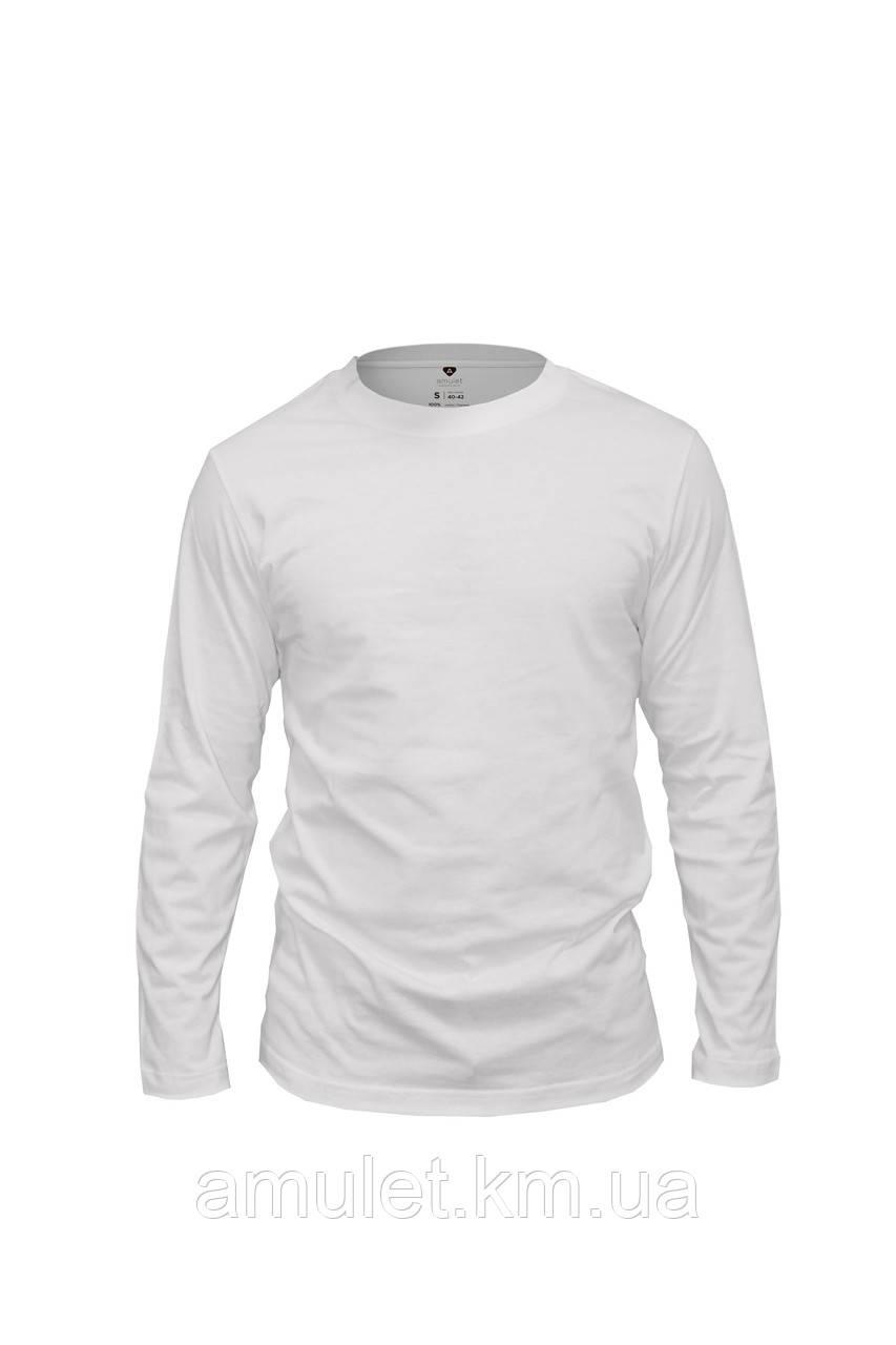 Футболка чоловіча з довгим рукавом Premium біла