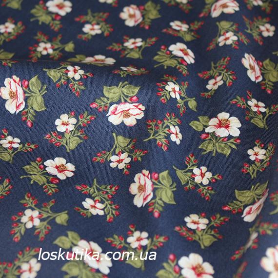 42012 В деревенском стиле (синий). Хлопковая ткань для летнего платья и для изготовления кукол и поделок.
