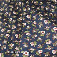 42012 В деревенском стиле (синий). Хлопковая ткань для летнего платья и для изготовления кукол и поделок., фото 2