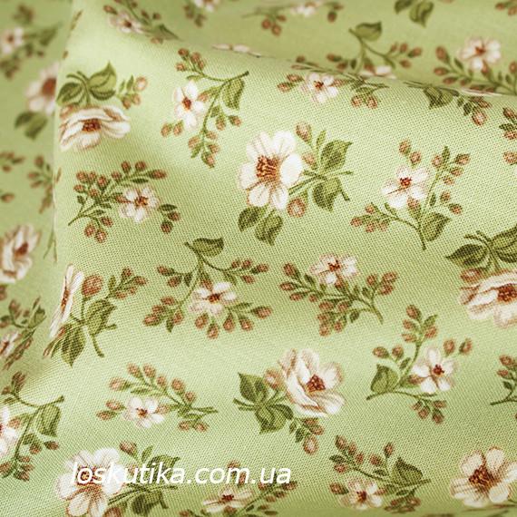 42013 В деревенском стиле (зеленый). Хлопковая ткань для летнего платья и для изготовления кукол и поделок.