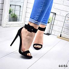 """Босоножки женские, на каблуке черные """"Bonya"""" эко замша, сандалии женские, туфли женские, обувь женская, фото 3"""