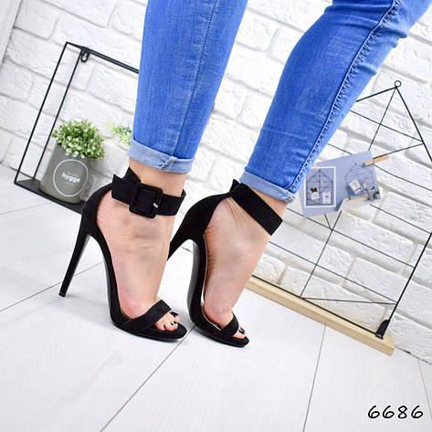 """Босоножки женские, на каблуке черные """"Bonya"""" эко замша, сандалии женские, туфли женские, обувь женская, фото 2"""