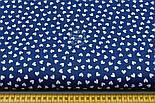Лоскут ткани с белыми мини сердечками на синем фоне № 803, фото 3