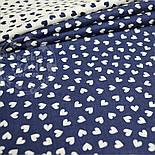 Лоскут ткани с белыми мини сердечками на синем фоне № 803, фото 4