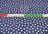 Лоскут ткани с белыми мини сердечками на синем фоне № 803, фото 8