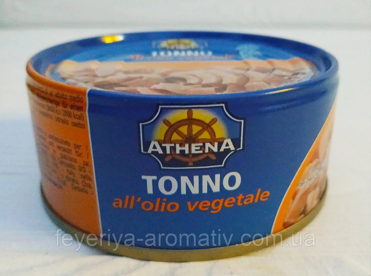 Консервированный тунец в подсолнечном масле Athena 160г/104г (Италия)