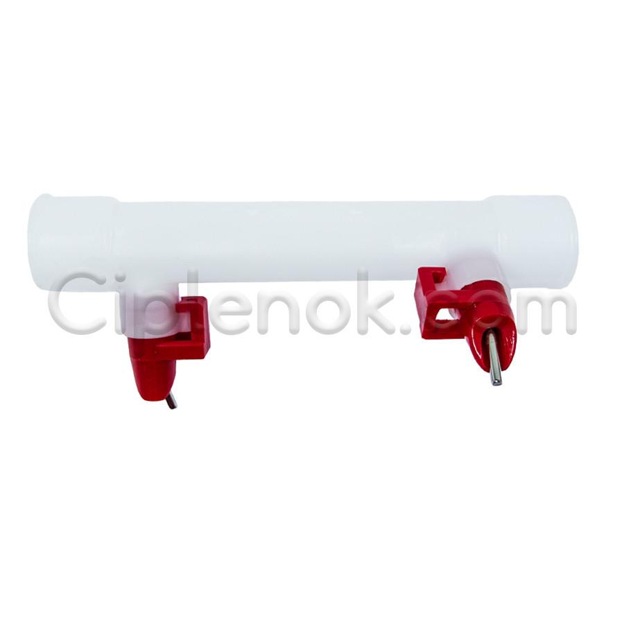 Ниппельные поилки 2 шт. + штуцер для круг. трубы 25 мм (защелки)