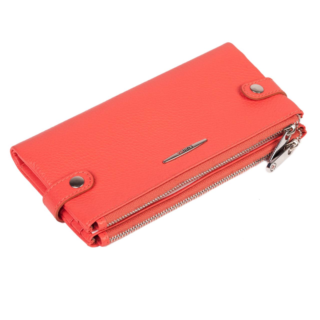 Женский  кошелек кожаный коралловый Eminsa 2117-18-25