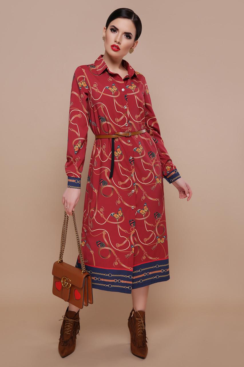 Красное платье рубашка с принтом и поясом