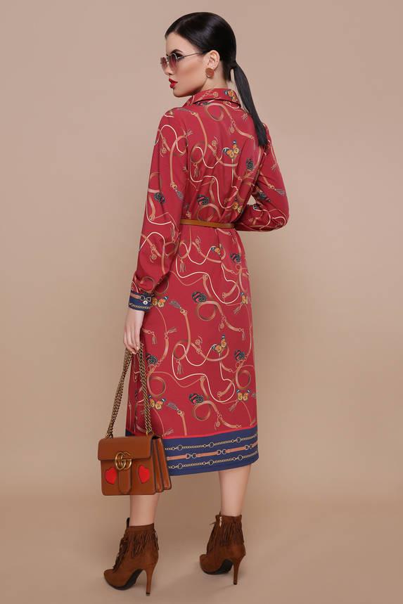 Красное платье рубашка с принтом и поясом, фото 2