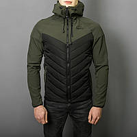 "Мужская Весенняя куртка Pobedov ""Soft Shell combi V2 "" ( хаки черная )"