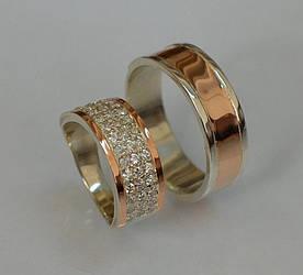 Пара серебряных обручальных колец с золотыми накладками (Обр3014к)