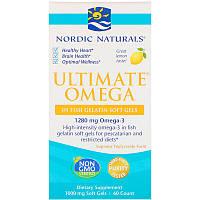 Nordic Naturals, Ultimate Omega, вкус лимона, 1000 мг, 60 мягких капсул