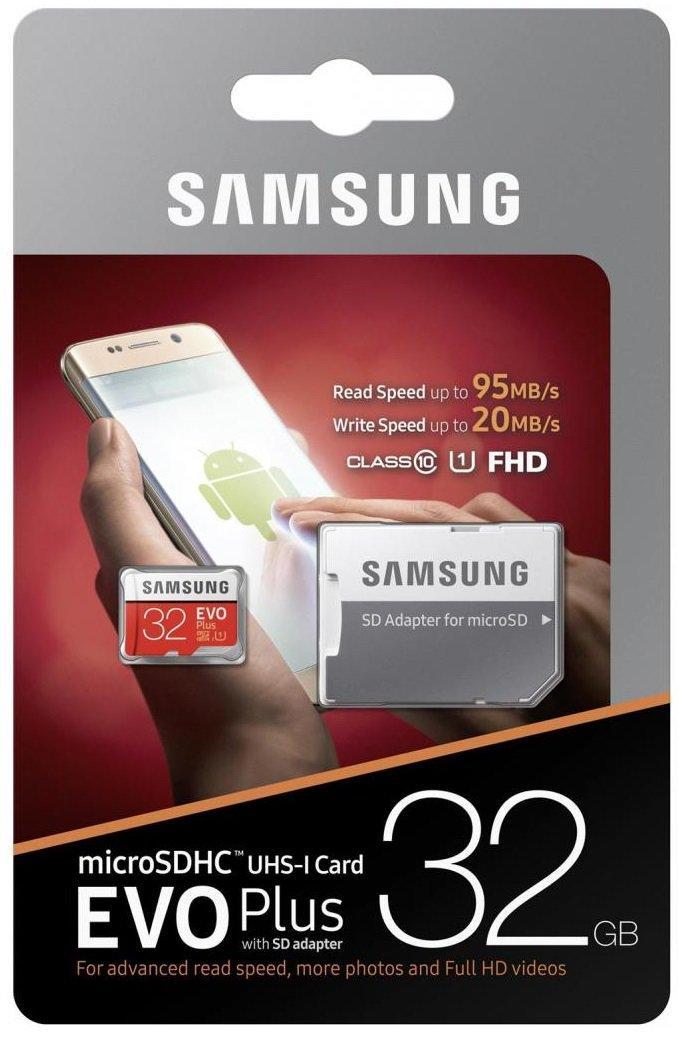 Карта памяти Samsung 32GB microSDHC C10 UHS-I R95/W20MB/s Evo Plus + SD адаптер
