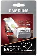 Карта памяти Samsung 32GB microSDHC C10 UHS-I R95/W20MB/s Evo Plus + SD адаптер, фото 1