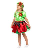 Костюм Мак для девочки 4-9 лет. Детский карнавальный костюм на праздник Весны 341