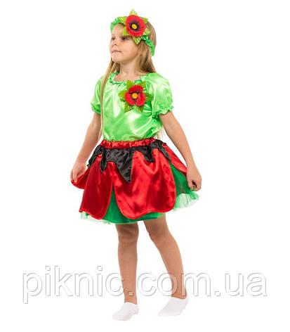 Костюм Мак для девочки 4-9 лет. Детский карнавальный костюм на праздник Весны 341, фото 2