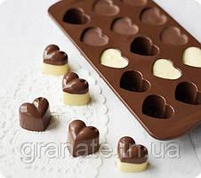 Силиконовая форма для конфет Сердечки 21,5х10,5х1,5 см