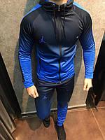 Мужской спортивный костюм НАЙК 01 градиент синий с черным