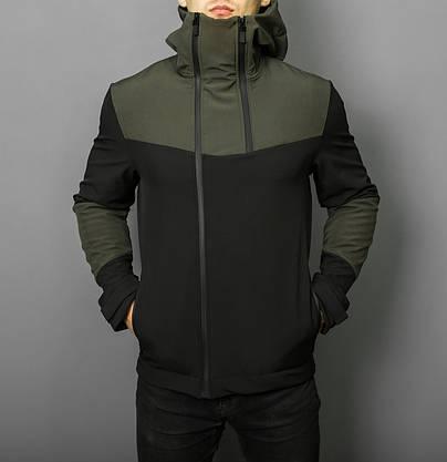 """Стильная весенняя мужская куртка Pobedov """"Pyatnitsa""""  ( хаки / черный ), фото 2"""