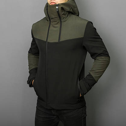 """Стильная весенняя мужская куртка Pobedov """"Pyatnitsa""""  ( хаки / черный ), фото 3"""