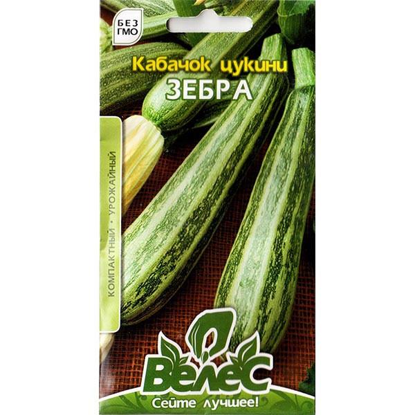 """Насіння кабачка раннього, високоврожайного """"Зебра"""" (3 р) від ТМ """"Велес"""""""