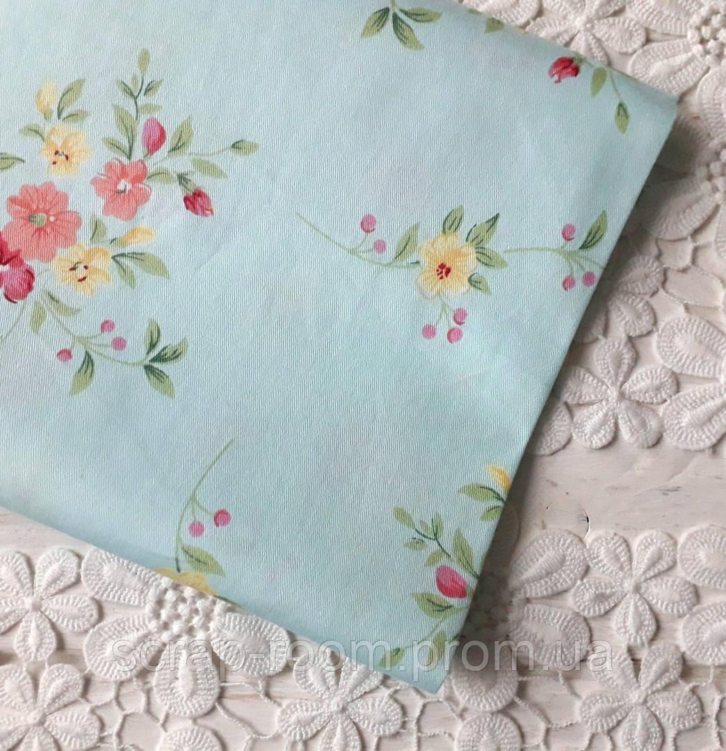 Ткань хлопок 100% , голубая цветочная, хлопок голубой  Корея отрез 20 на 50 см