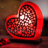 Соляная лампа Сердце Любви красное | Ночник HealthLamp с регулятором яркости