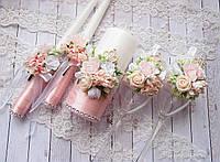 Свадебные бокалы в пудровом цвете