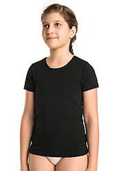 Детская спортивная ФУТБОЛКА с коротким рукавом  (5-12 лет, рост 110-146см) трикотажная черная