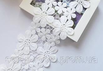 Кружево белое хлопок вышитые цветы, ширина кружева 11,5 см, цена указана за 45 см