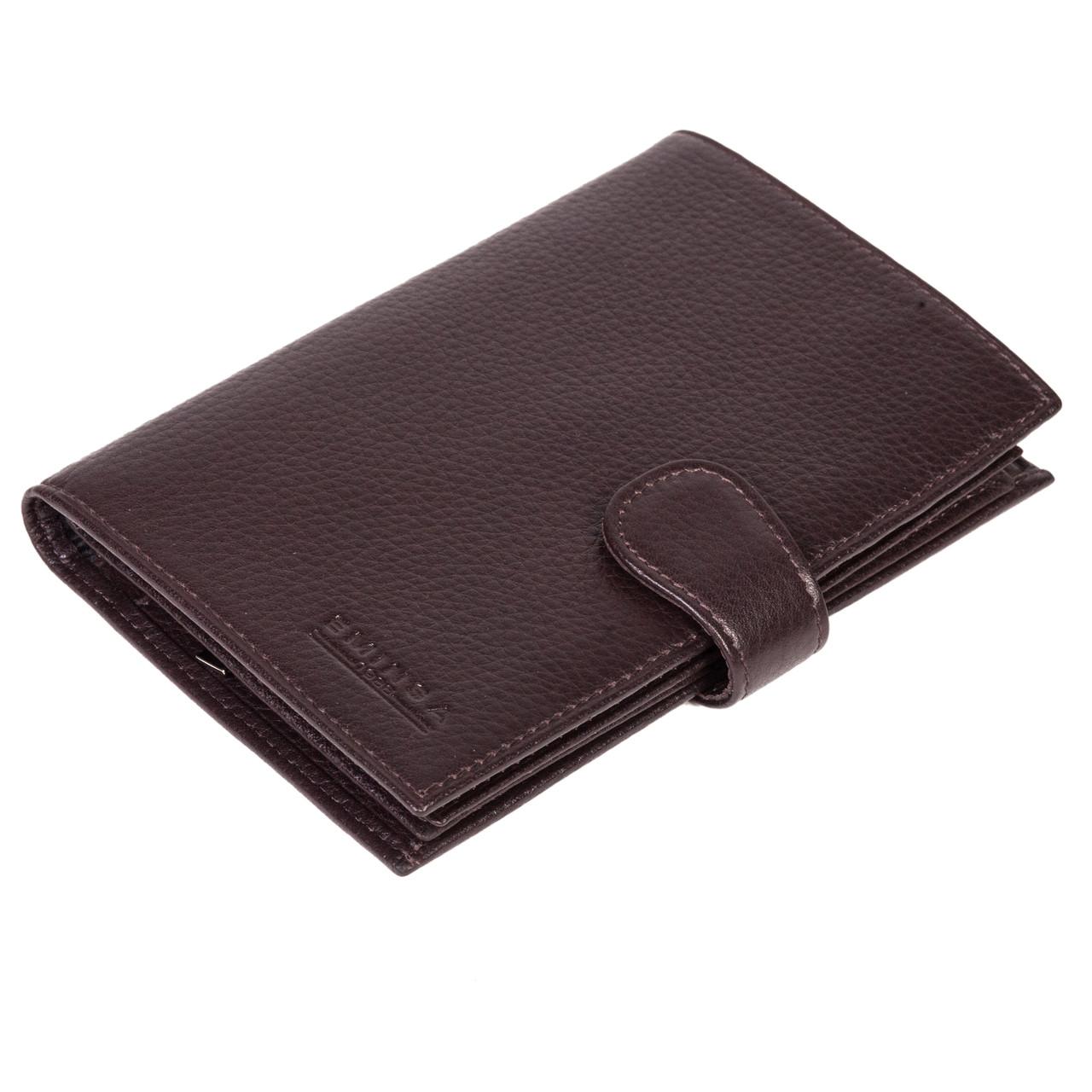 4e037a8425f4 Мужское портмоне Eminsa 1001-17-3 кожаное с отделением для паспорта  коричневое - FainaModa