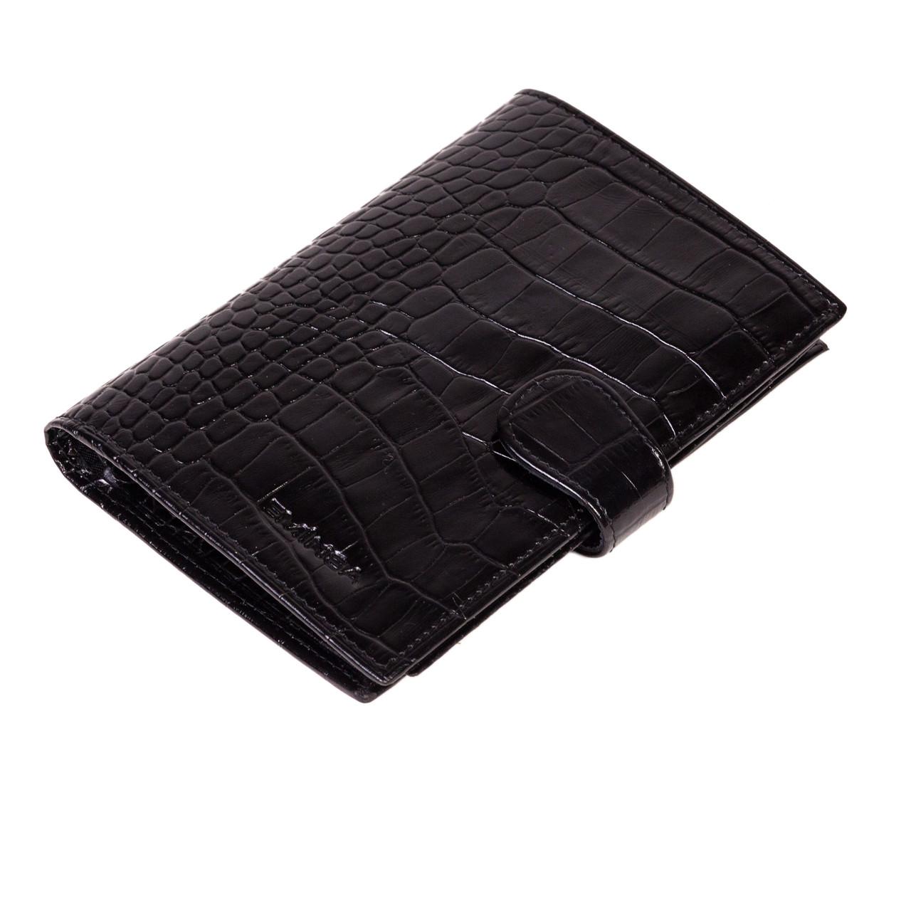 Мужское портмоне Eminsa 1001-4-1 кожаное с отделением для паспорта черное