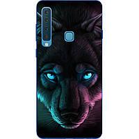 Силиконовый чехол с рисунком для Samsung Galaxy A9 2018 Волк с голубыми глазами