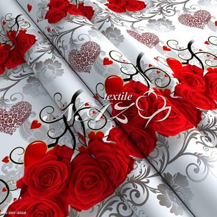 """Постільна білизна полісатин """"Червоні рози з серцями"""", фото 2"""