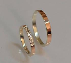 Пара серебряных обручальных колец с золотыми накладками (Обр1052к)