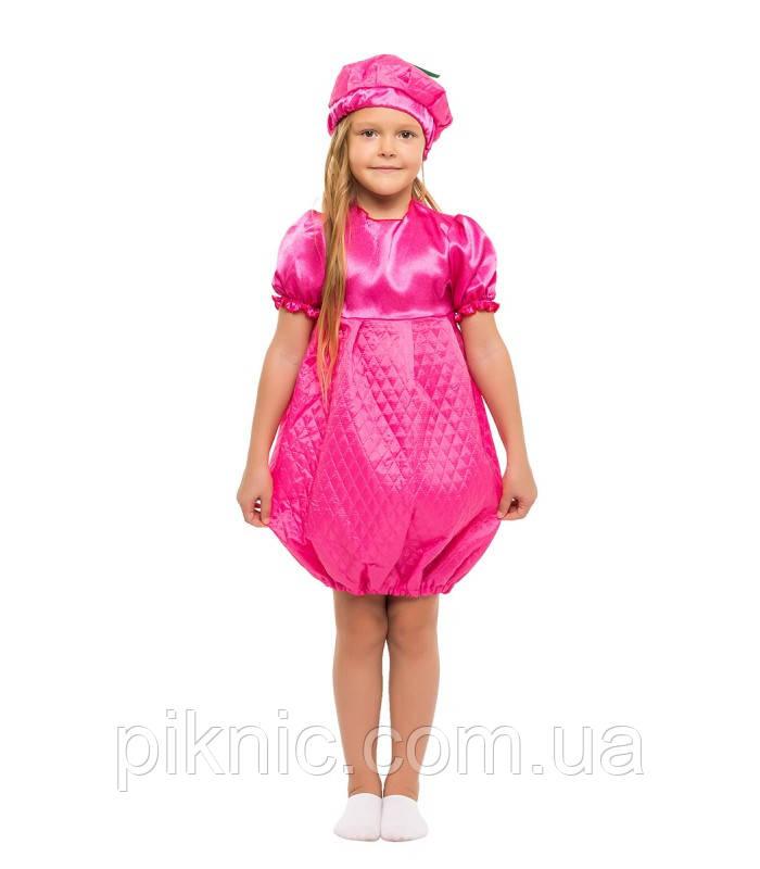 Костюм Малинка для девочки 4-8 лет. Детский карнавальный костюм на праздник Весны. Малина