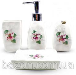 """Набір аксесуарів Floral """"Фіалка"""" для ванної кімнати 4 предмета, кераміка"""