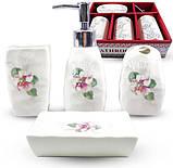 """Набор аксессуаров Floral """"Фиалка"""" для ванной комнаты 4 предмета, керамика, фото 2"""