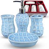 Набор аксессуаров Pure для ванной комнаты 4 предмета голубой, керамика, фото 2