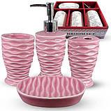 Набор аксессуаров Pure для ванной комнаты 4 предмета малиновый, керамика, фото 2