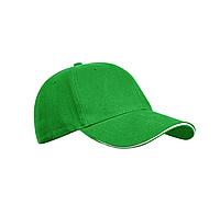 Бейсболка зеленая, шестиклинка, плотные - 320 г/м, модель Golf, TM Floyd, под нанесение логотипов, фото 1