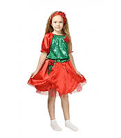 Детский карнавальный костюм Роза красная для девочки 3-8 лет. Платье для детей 341