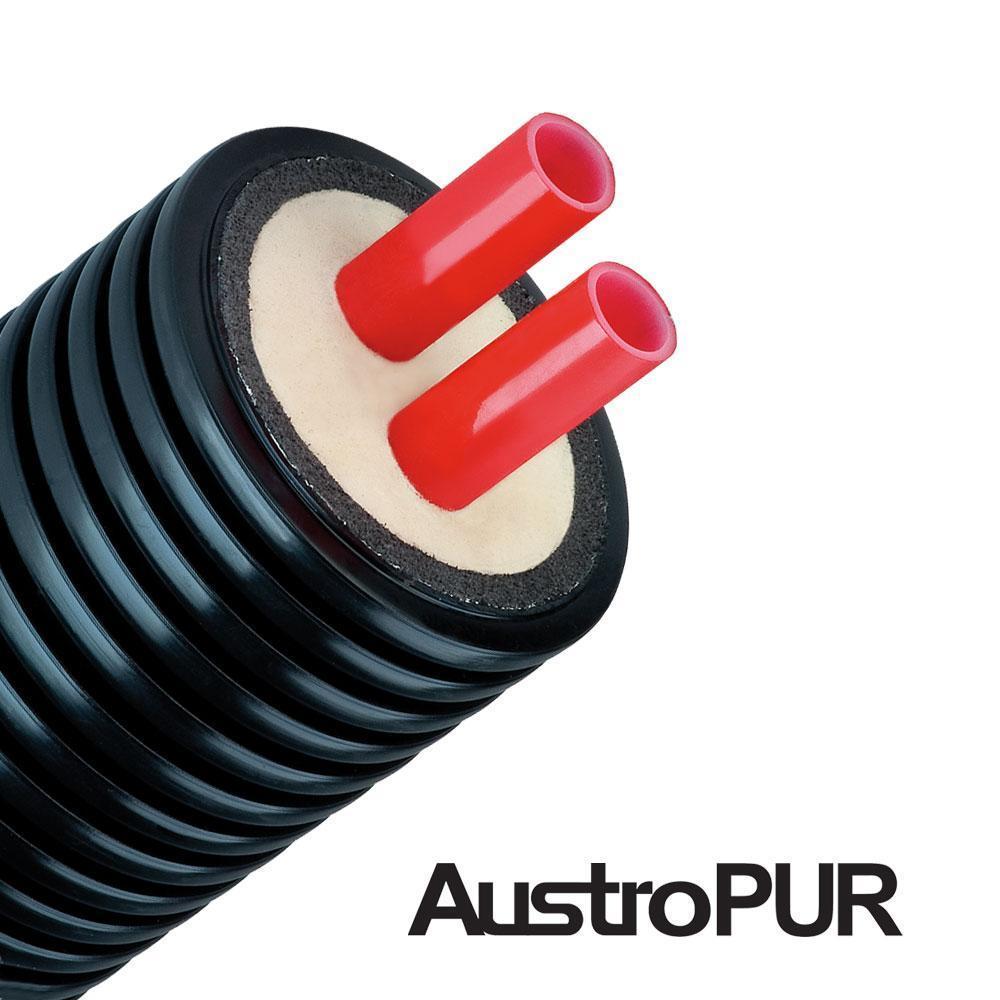 Гибкая предизолированная труба AustroPUR PE-Xa 145/2x32x2.9 мм