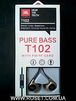 Вакуумные проводные наушники JBL T102 Pure Bass
