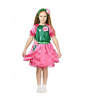Детский карнавальный костюм Роза розовая для девочки 3-5-8 лет. Платье на праздник 340