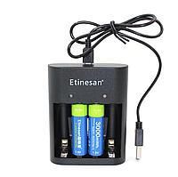 AA пальчиковий Etinesan літій-іонні акумулятор 1,5 В 3000mWh + зарядка, фото 1