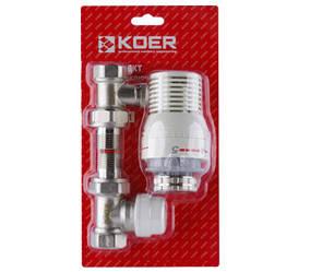 """Комплект для подключения радиатора с терморегулятором Koer 1/2"""" KR.1321 прямой"""