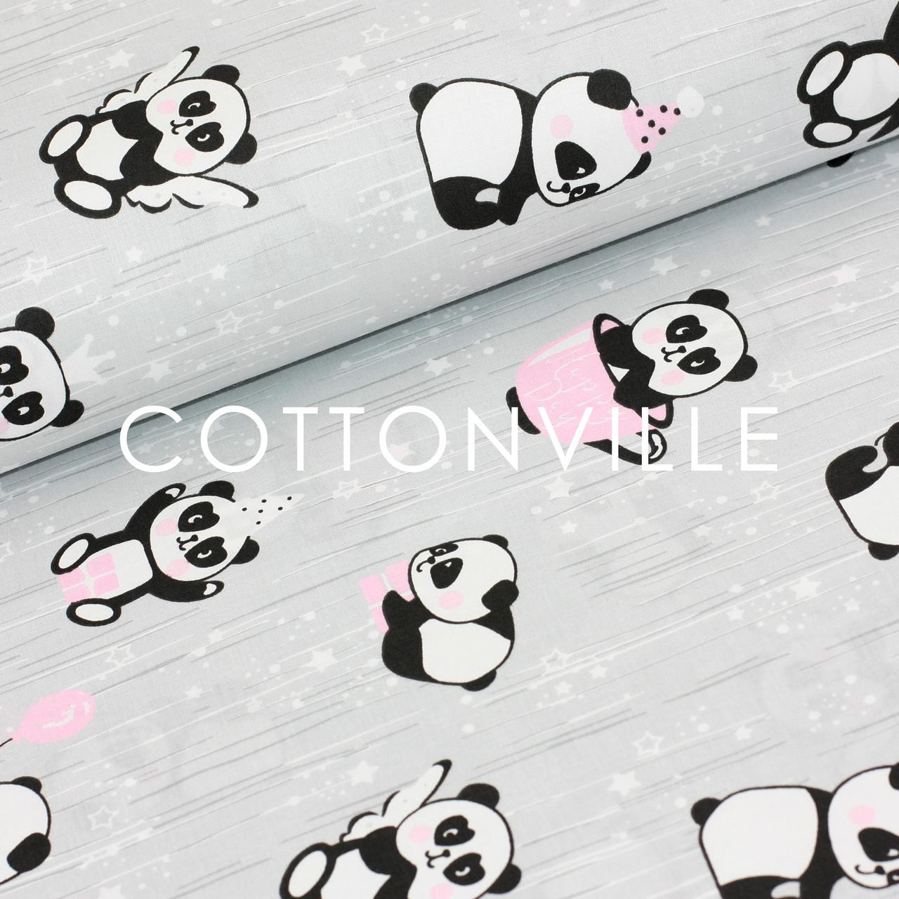 ✁ Отрезы бязи Панды в розовых чашках на сером
